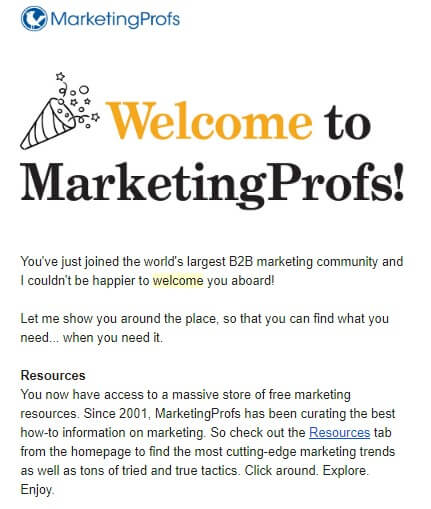 1 welcome email from Marketingprofs