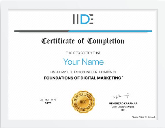 iide digital marketing certification