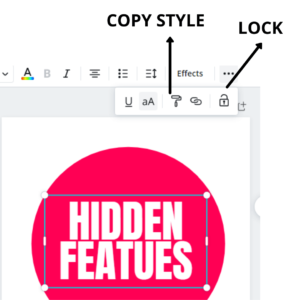 lock and group feature in canva