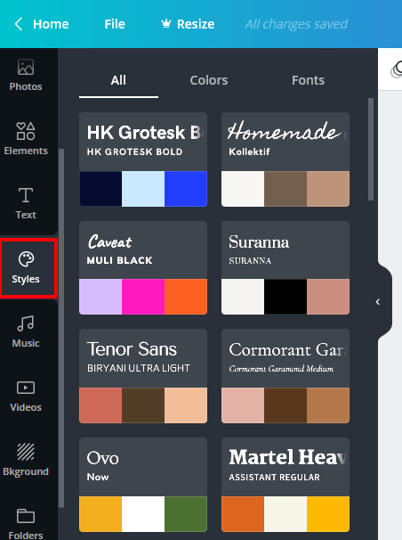 Style option talks about color and font combinations